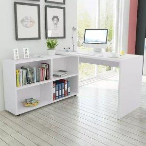 Γραφείο Γωνιακό με 4 Ράφια Λευκό