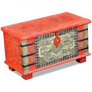 Μπαούλο Αποθήκευσης Κόκκινο 80 x 40 x 45 εκ. από Ξύλο Μάνγκ&omicr