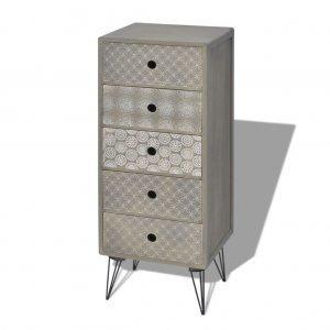 Συρταριέρα με 5 Συρτάρια Γκρι