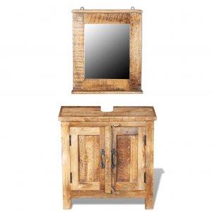 Έπιπλο Μπάνιου με Καθρέφτη Ξύλο Μάνγκο