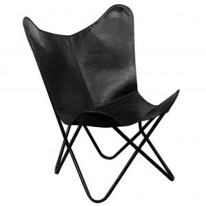 Καρέκλα Πεταλούδα Μαύρη από Γνήσιο Δέρμα