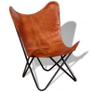 Καρέκλα Πεταλούδα Καφέ από Γνήσιο Δέρμα | Echo Deco