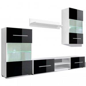 Σύνθετο τηλεόρασης με φωτισμό led 5 τεμ μαύρο