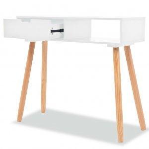 Τραπέζι κονσόλα λευκό 80 x 30 x 72 εκ από μασίφ ξύλο πεύκου
