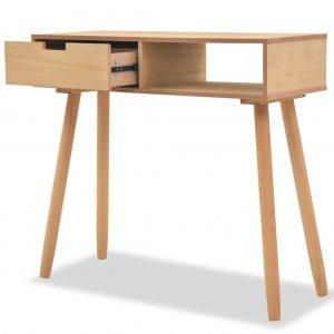 Τραπέζι κονσόλα καφέ 80 x 30 x 72 εκ από μασίφ ξύλο πεύκου