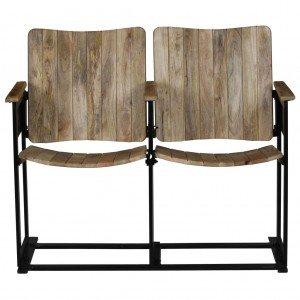 Διθέσιο Κάθισμα από Μασίφ Ξύλο Μάνγκο και Ατσάλι