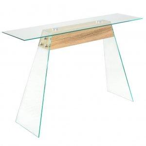 Τραπέζι κονσόλα χρώμα δρυός 120 x 30 x 76 εκ από mdf και γυαλί