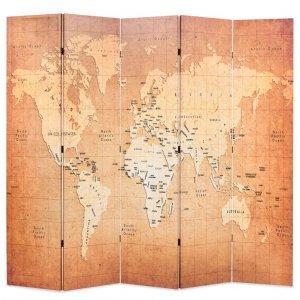 Διαχωριστικό Δωματίου Πτυσσόμενο Χάρτης Κίτρινο 200 x