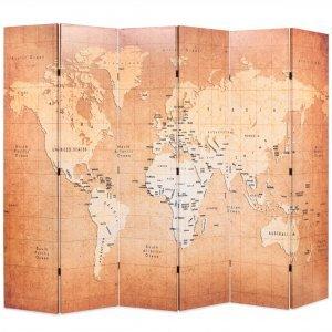 Διαχωριστικό Δωματίου Πτυσσόμενο Χάρτης Κίτρινο 228 x