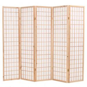 Παραβάν Ιαπωνικού Στιλ με 5 Πάνελ Πτυσσόμενο Φυσικό 2