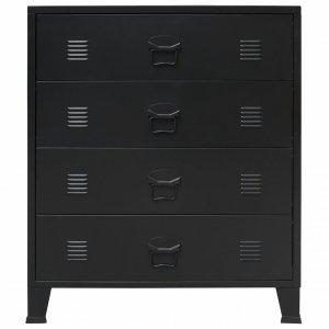 Συρταριέρα με Βιομηχανικό Στιλ Μαύρη 78 x 40 x 93 εκ. Μεταλ&lambda