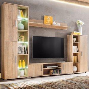 Σύνθετο τηλεόρασης σε χρώμα sonoma δρυς με φωτισμό led