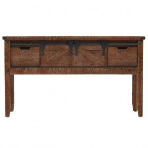 Τραπέζι κονσόλα καφέ 131 x 35,5 x 75 εκ από μασίφ ξύλο ελάτης
