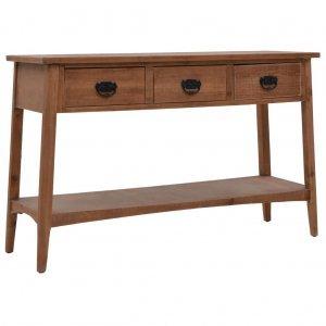 Τραπέζι κονσόλα καφέ 126 x 40 x 77,5 εκ από μασίφ ξύλο ελάτης