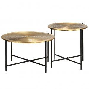 Σετ τραπέζια 2 τεμ από mdf με επικάλυψη ορείχαλκου