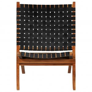 Καρέκλα Πτυσσόμενη με Χιαστί Λωρίδες Μαύρη από Γνήσι&o