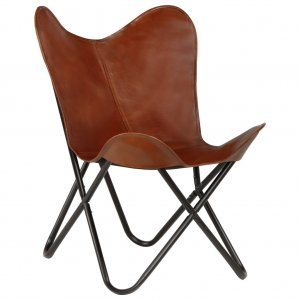 Καρέκλα Πεταλούδα Παιδική Καφέ από Γνήσιο Δέρμα