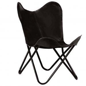 Καρέκλα Πεταλούδα Παιδική Μαύρη από Γνήσιο Δέρμα
