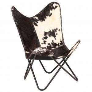 Καρέκλα Πεταλούδα Ασπρόμαυρη από Γνήσιο Δέρμα Κατ&sigma
