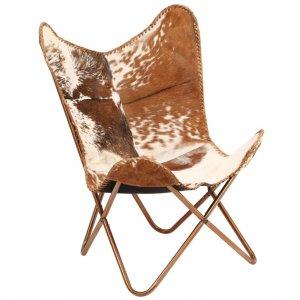 Καρέκλα Πεταλούδα Καφέ και Λευκό από Γνήσιο Δέρμα &Ka