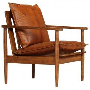 Πολυθρόνα Καφέ από Γνήσιο Δέρμα / Ξύλο Ακακίας