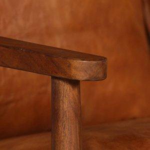 Καναπές Διθέσιος Καφέ από Γνήσιο Δέρμα / Ξύλο Ακακίας