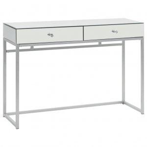 Τραπέζι κονσόλα καθρέφτης 107 x 33 x 77 εκ από ατσάλι & γυαλί