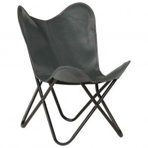 Καρέκλα Πεταλούδα Γκρι από Γνήσιο Δέρμα