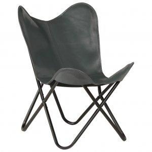 Καρέκλα Πεταλούδα Παιδική Γκρι από Γνήσιο Δέρμα