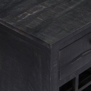 Ραφιέρα / Σταντ Κρασιών Μαύρη 56x35x75 εκ. Μασίφ Ξύλο Μάνγκο