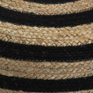 Πουφ Χειροποίητο Μαύρο 40 x 45 εκ. από Γιούτα