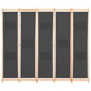 Διαχωριστικό Δωματίου με 5 Πάνελ Γκρι 200x170x4 εκ. Υφασμά&tau