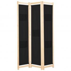 Διαχωριστικό Δωματίου με 3 Πάνελ Μαύρο 120x170x4 εκ. Υφασμά&ta