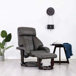 Πολυθρόνα Ανακλινόμενη Γκρι από Συνθετικό Δέρμα μ&epsilon