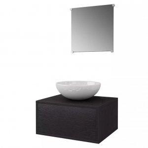 Έπιπλο Μπάνιου με Νιπτήρα Σετ Τριών Τεμαχίων Μαύρο