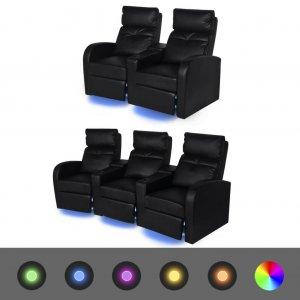 Καναπέδες 2+3 Θέσεων Ανακλινόμενοι LED 2 τεμ. Μαύροι Δερ&m