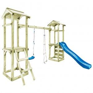 Παιδικό Σπιτάκι Σκάλα/Τσουλήθρα/Κούνια 300x197x218 εκ. Ξύλινο