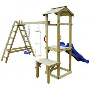 Σπιτάκι με Τσουλήθρα/Σκάλες/Κούνια 286 x 228 x 218 εκ. Ξύλινο
