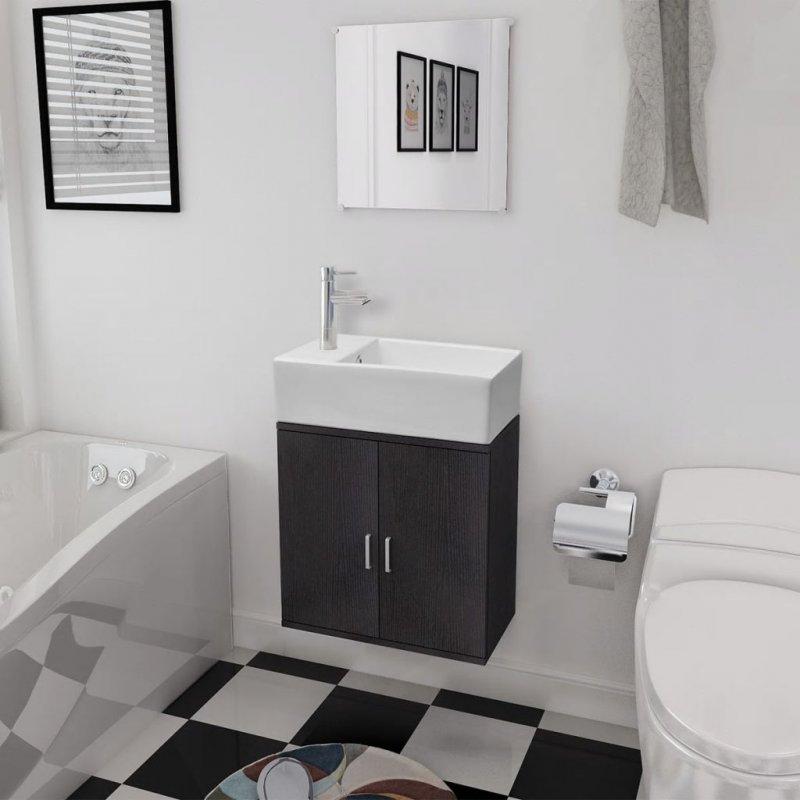 Έπιπλο Μπάνιου με Νιπτήρα Σετ Τριών Τεμαχίων Μαύρο | Echo Deco