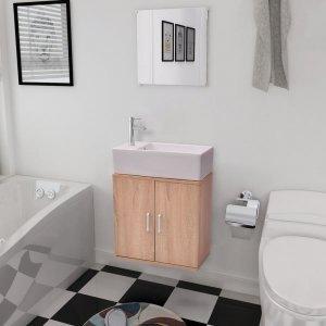 Έπιπλο Μπάνιου με Νιπτήρα Σετ Τριών Τεμαχίων Μπεζ