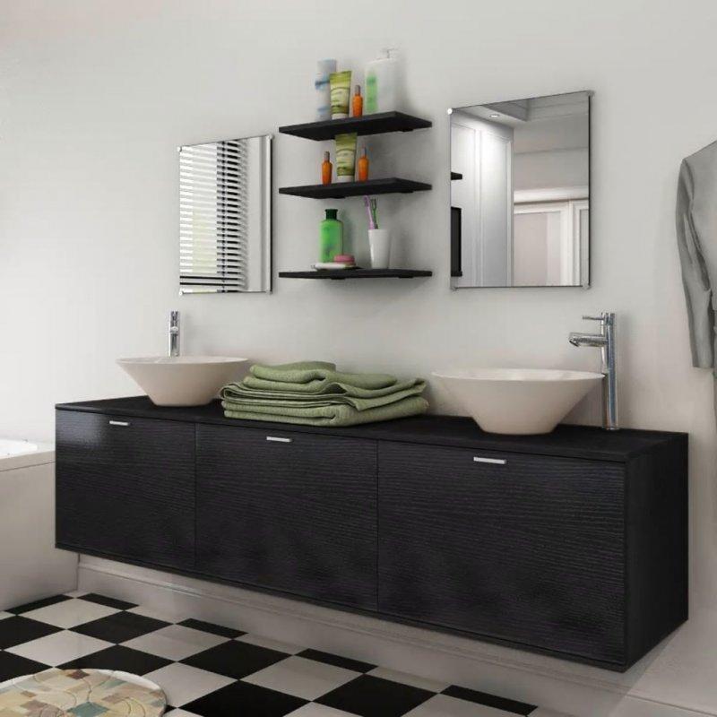Έπιπλο Μπάνιου - Ντουλάπι με Νιπτήρα Σετ Οκτώ Τεμαχίων Μαύρο   Echo Deco