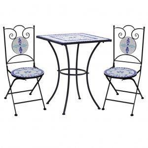 Σετ Επίπλων Bistro «Μωσαϊκό» 3 τεμ Μπλε/Λευκό Κεραμικά Π&lamb