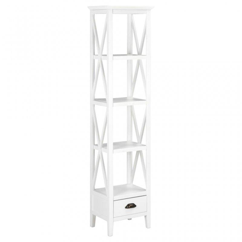 Βιβλιοθήκη με 1 Συρτάρι Λευκή 40 x 30 x 170 εκ. από MDF | Echo Deco