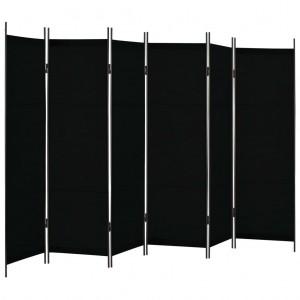 Διαχωριστικό Δωματίου με 6 Πάνελ Μαύρο 300 x 180 εκ.