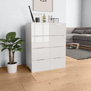 Συρταριέρα Γυαλιστερή Λευκή 60 x 35 x 76 εκ. από Μοριοσανί