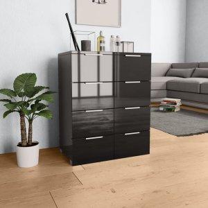 Συρταριέρα Γυαλιστερή Μαύρη 60 x 35 x 76 εκ. από Μοριοσανίδ&alph