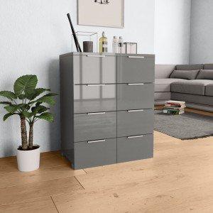 Συρταριέρα Γυαλιστερή Γκρι 60 x 35 x 76 εκ. από Μοριοσανίδ&a