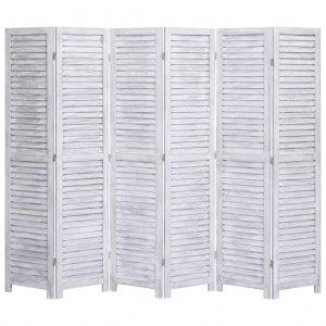 Διαχωριστικό Δωματίου με 6 Πάνελ Γκρι 210 x 165 εκ. Ξύλινο