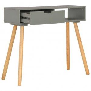 Τραπέζι κονσόλα γκρι 80 x 30 x 72 εκ από μασίφ ξύλο πεύκου