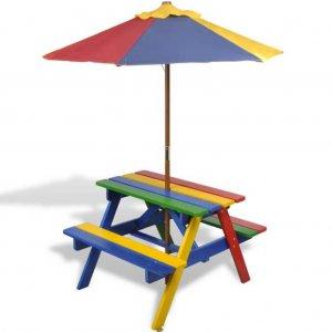 Τραπέζι Πικ-νικ Παιδικό με Παγκάκια / Ομπρέλα Πολύχρωμο Ξύλινο